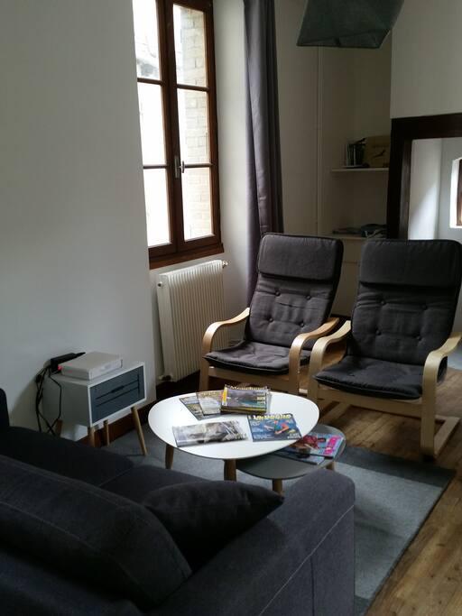 L'espace salon canapé lit Bibliothèque pêche