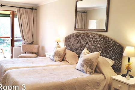 Room 3:  Bedroom size :  6m x 2.8m.   1 x Twin bedded room which is two single beds (2 x 1.9 x 0.90 meters) en-suite shower
