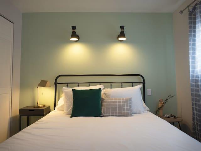 Hotel-like sanctuary awaits in the snug bedroom.