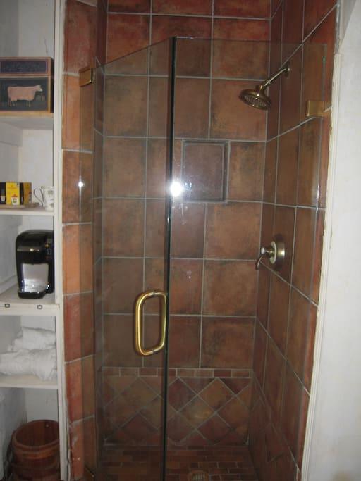 Custom built glassed in shower