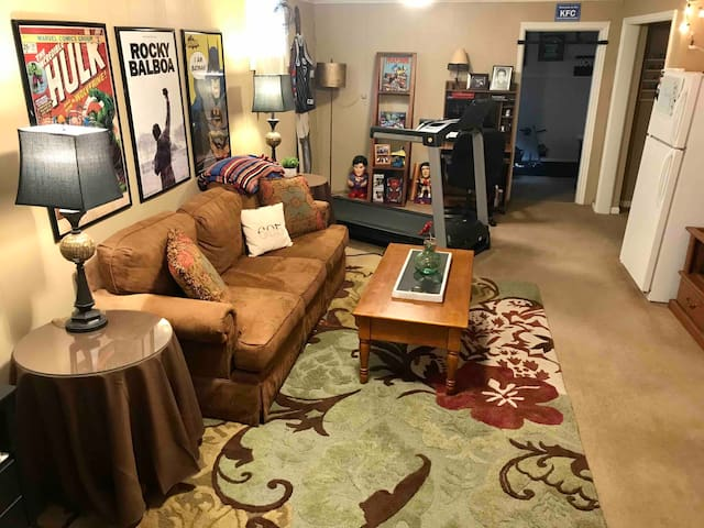 This space is yours to use! Complete with a full size fridge, TV (Netflix!), and comfy couch.
