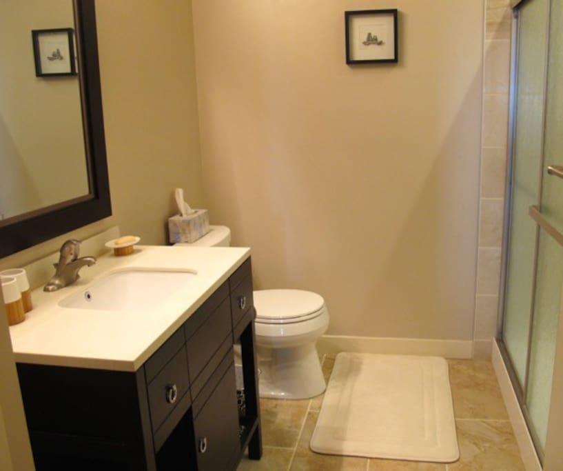 In-floor heating in private bathroom