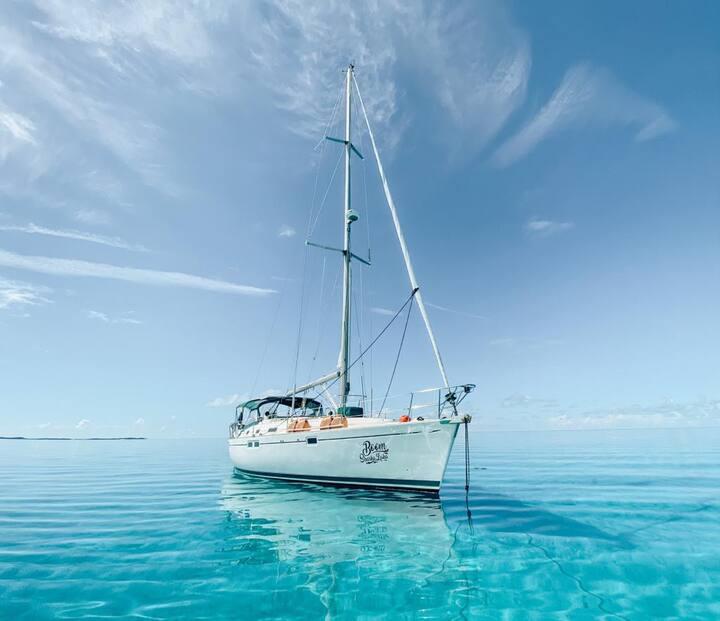 Epic Bahamas Sailing Charter Boom Sharkalaka