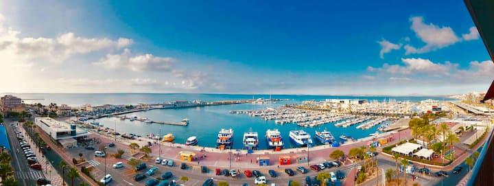 Sea & Port View, 150m beach, shopping, Santa Pola