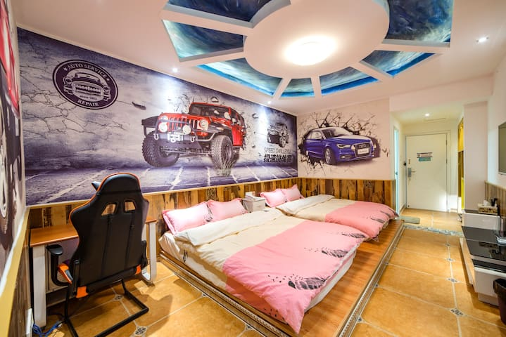 【Hansu Inn】 Game theme/Forest park/Twin bed room