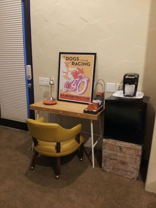 Mini fridge & Keurig coffe/tea set up and internet access