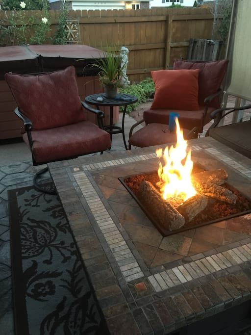 Fire Table and hot tub