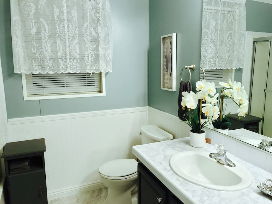 Newly remodeled bathroom exclusively for guests.