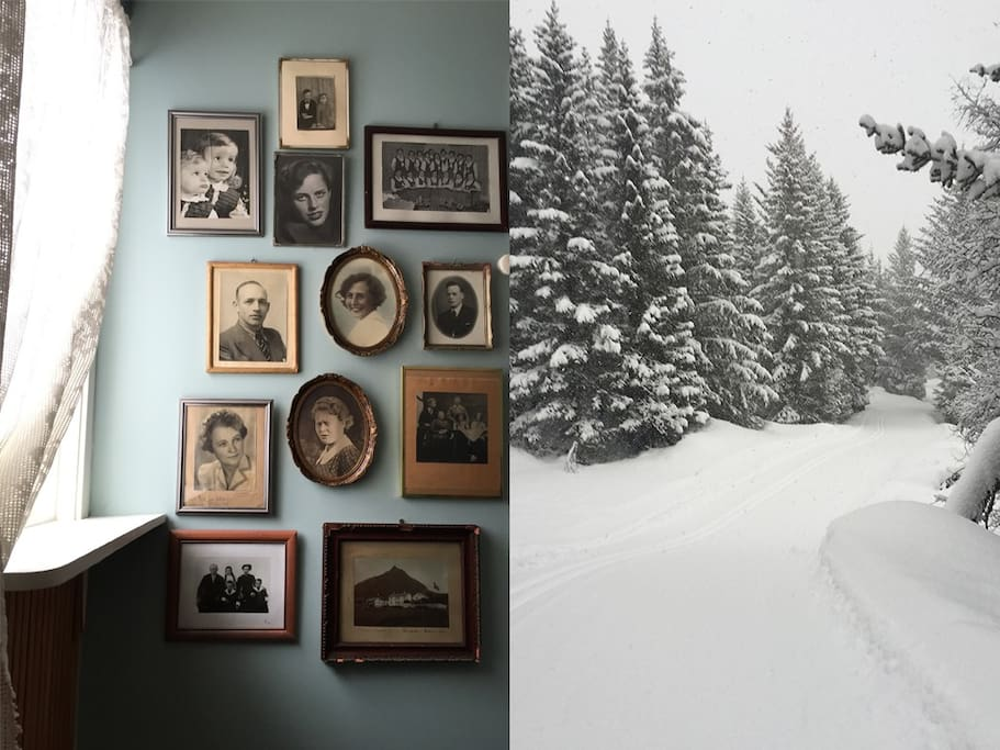 Bang and Werner Paulsen family history. Ski trails in the hills behind house.