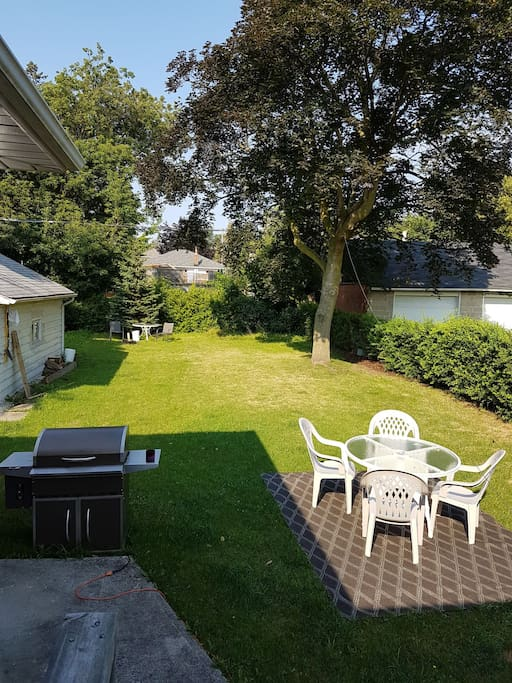 Large backyard, Smoker BBQ, and Firepit and Outdoor Table & Chairs