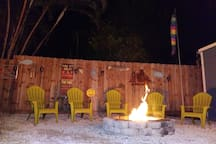 A nighttime fire, perfect while you enjoy a drink or swim.