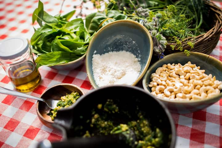 Learn to make pesto from garden  herbs