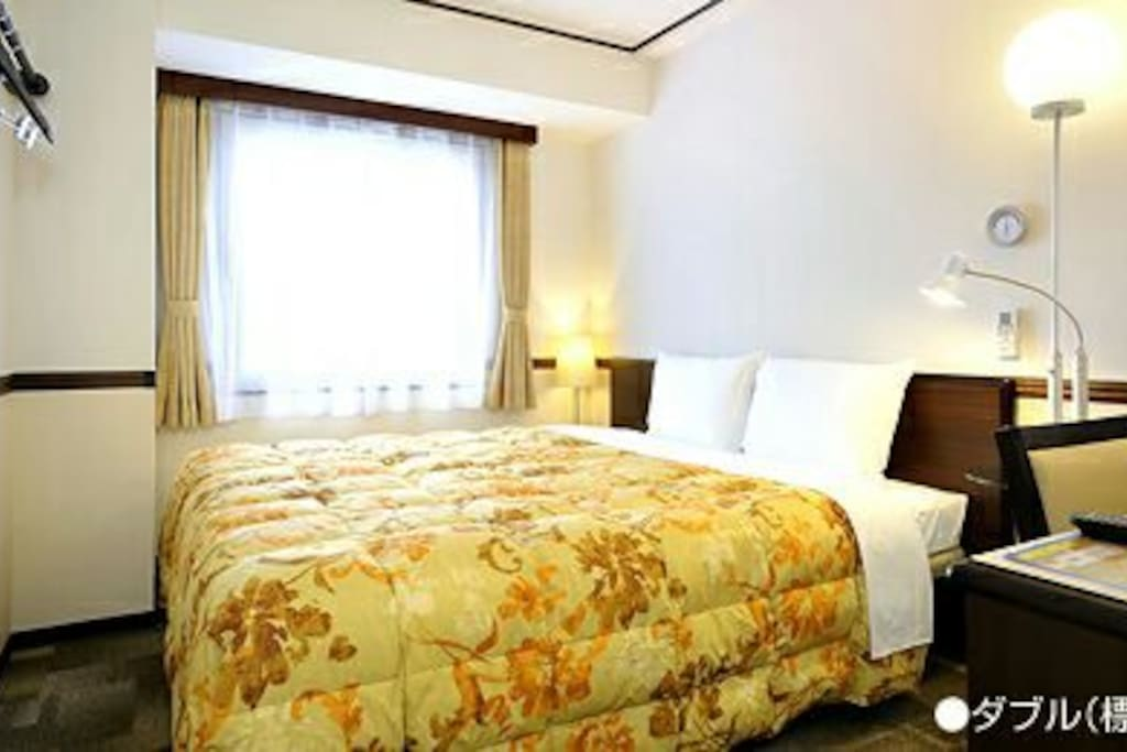 Double room image.  Disaster prevention & Crime prevention measures is a perfect and safe because it is the hotel of the Japanese government authorized the room.