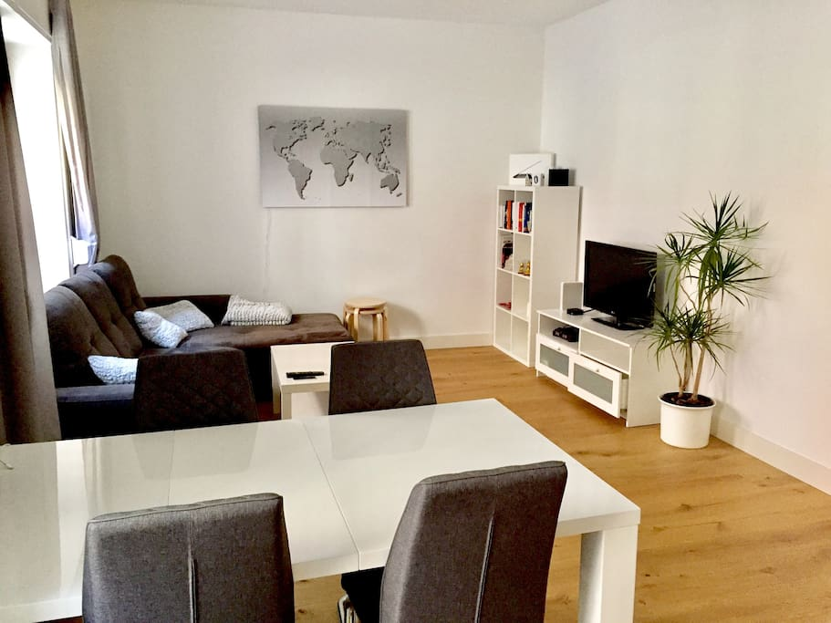 Bright and big living room & sofa corner