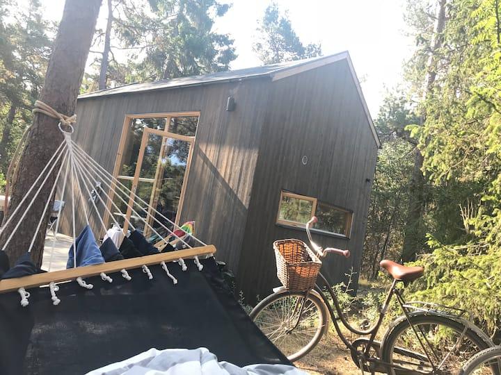 Stilrent nybyggt hus, ostört i natur, nära strand
