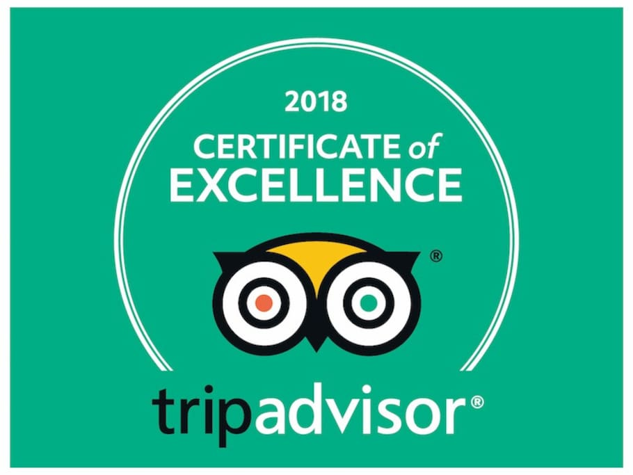 Received the TripAdvisor Certificate of Excellence in 2018, for the second year in a row :)