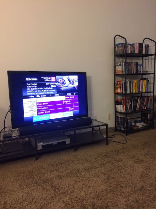 Bigscreen TV and premium cable package with hundreds of channels