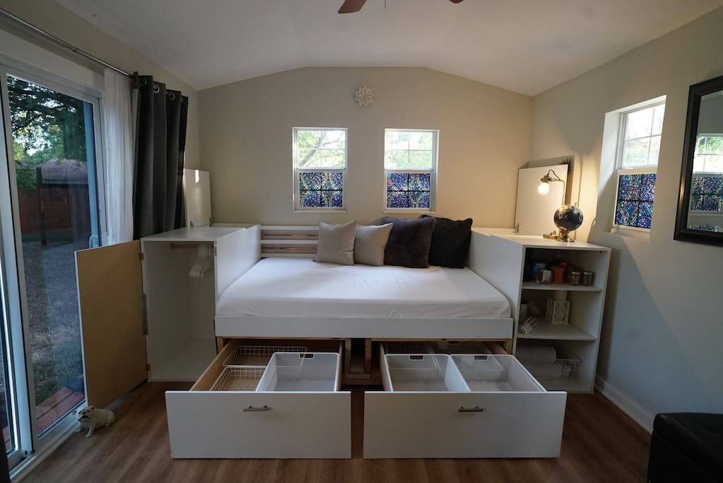 You have access to plenty of storage during your stay!  All custom built to take advantage of the space.