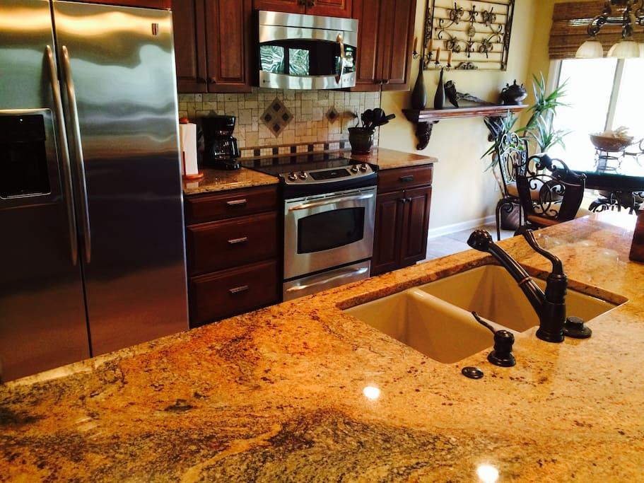 Newly renovated kitchen with cooking supplies