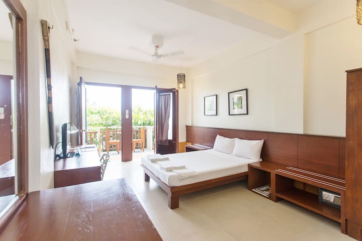 """Superior Double:  Bed type: one (1) double sized bed (54"""" x 75"""") *Air-con *Ceiling fan *Hot & cold shower *Cable LED TV with premium channels *Mini-ref *Safety Deposit Box *Floor-length windows *Free wi-fi in the lobby *Located on the third floor."""