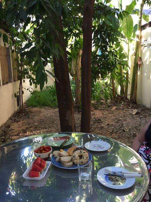 Garden eating area under the mango trees.