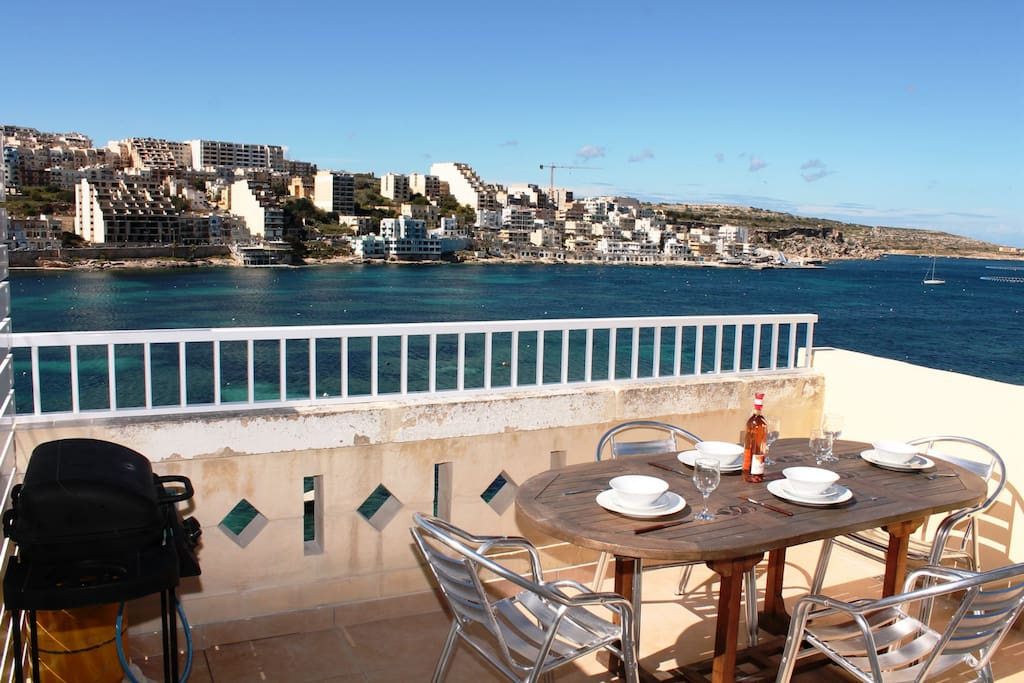 Front Terrace With Spectacular Seaviews. Equipped With Outdoor Furniture and Gas BBQ.