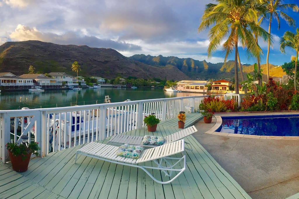 Relax on the wide marina front deck.