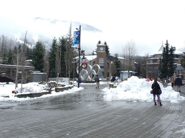 The Olympic Plaza is just steps away from our entrance, a hub of activity along the village stroll.