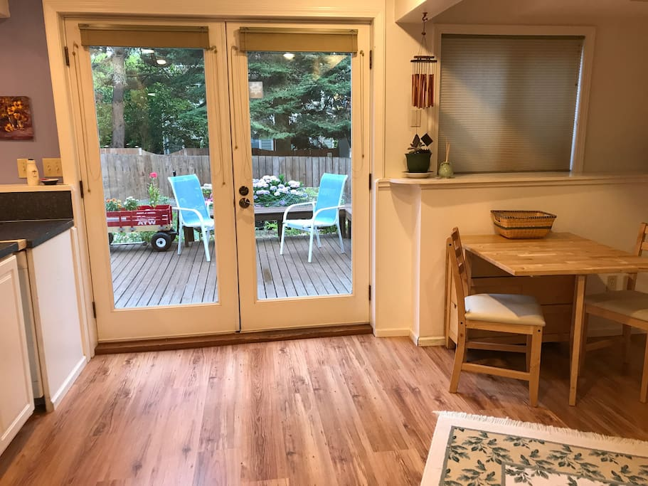 View to the beautiful garden and deck