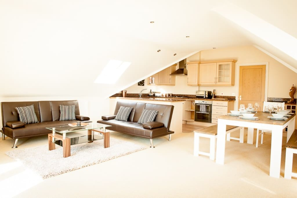 Large open plan living space.