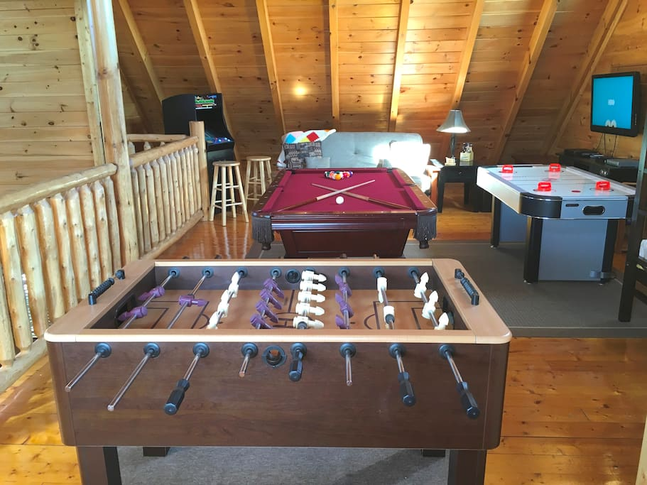 Amazing Game Room Includes Pool Table
