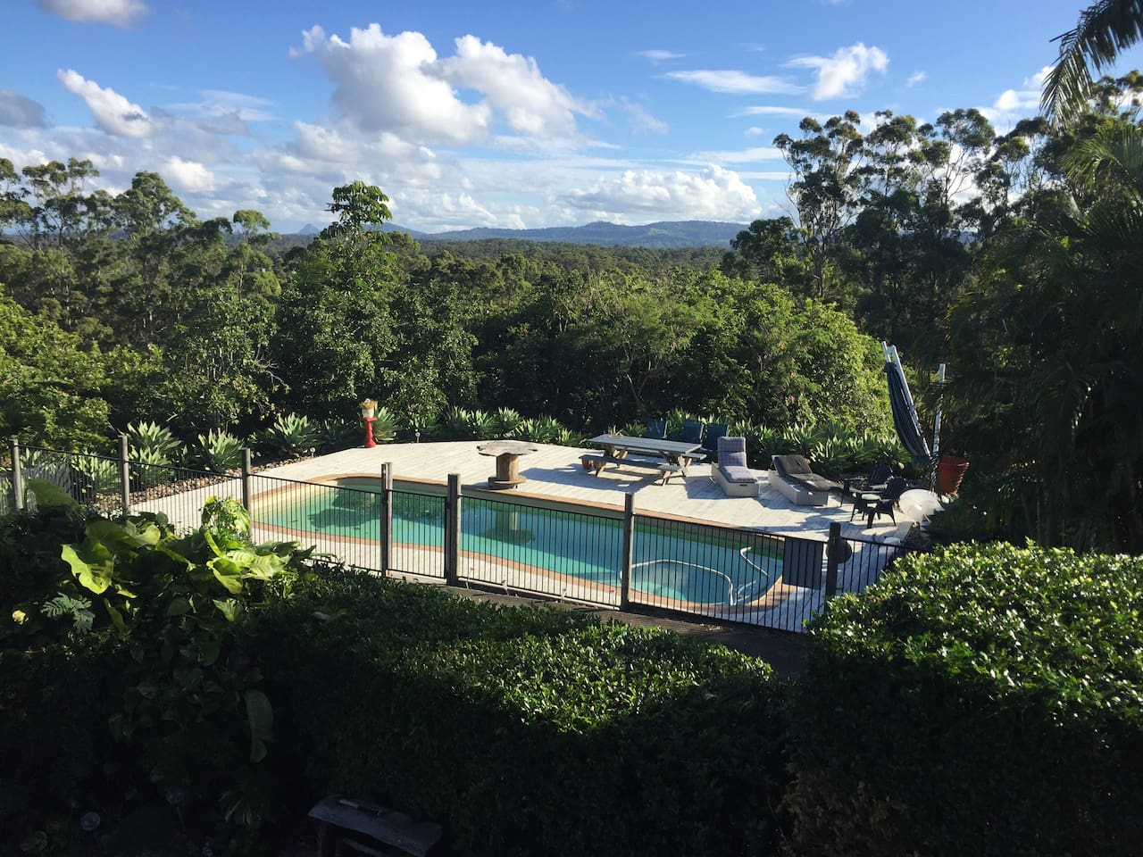 Your pool deck looking from deck out to Blackall Range and Glasshouse Mountains