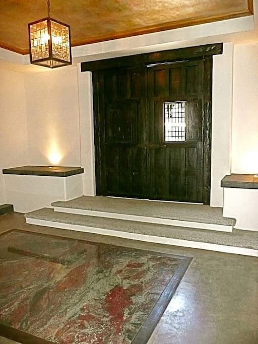 Interior: Main Building double Door entryway. Inlay marble floors.