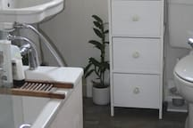 Shared bathroom with shower