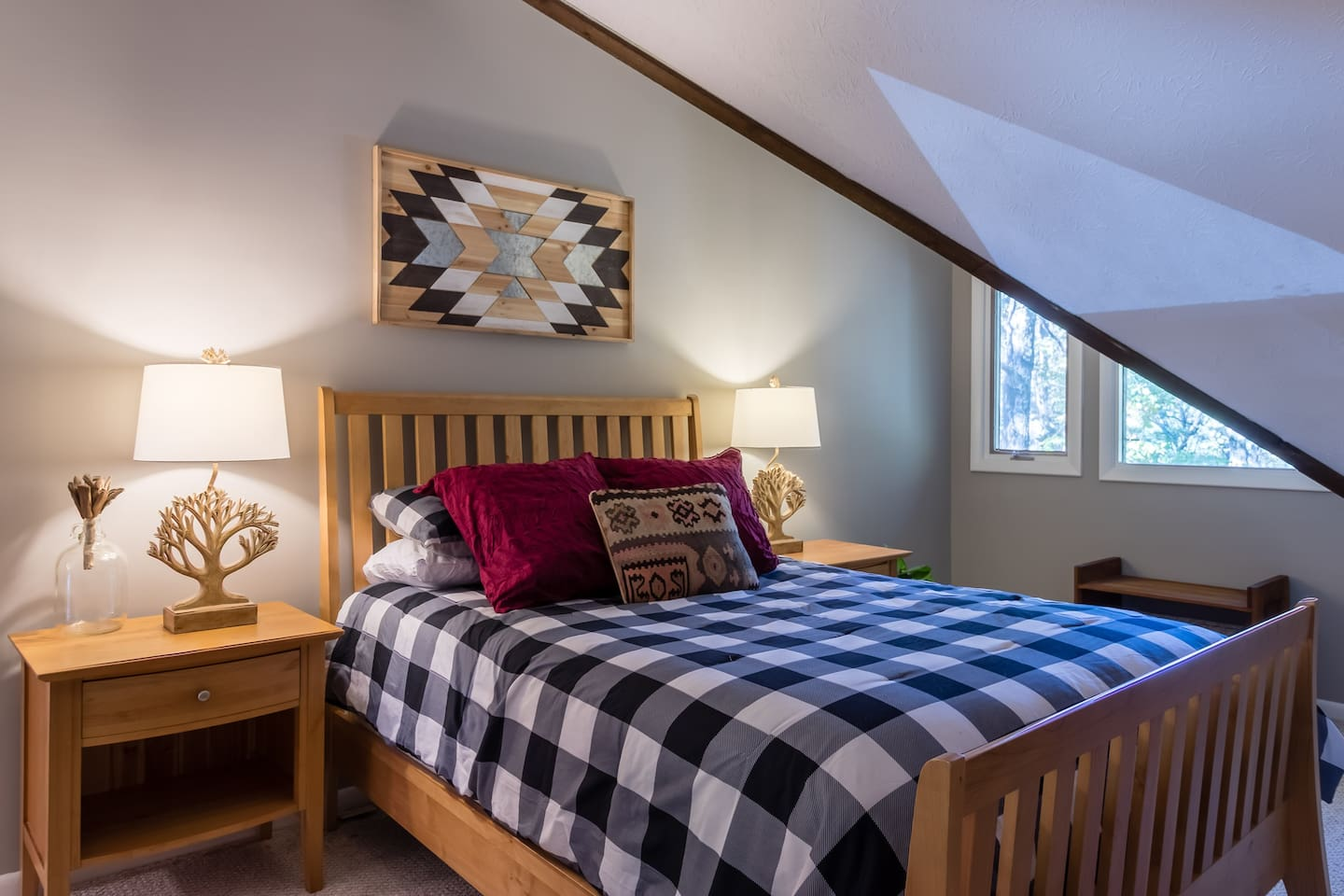 Comfy queen bed in master suite is perfect to snuggle up in after a long day exploring the mountain!