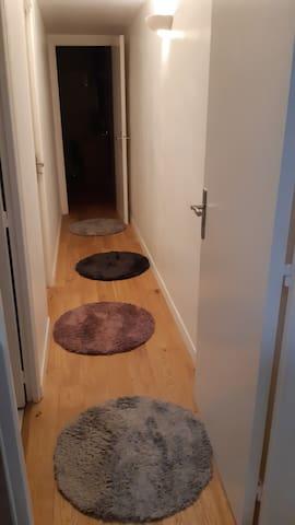 Couloir menant a la chambre et salle de bain