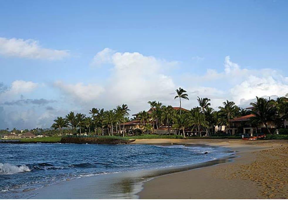 Poipu Beach view of resort