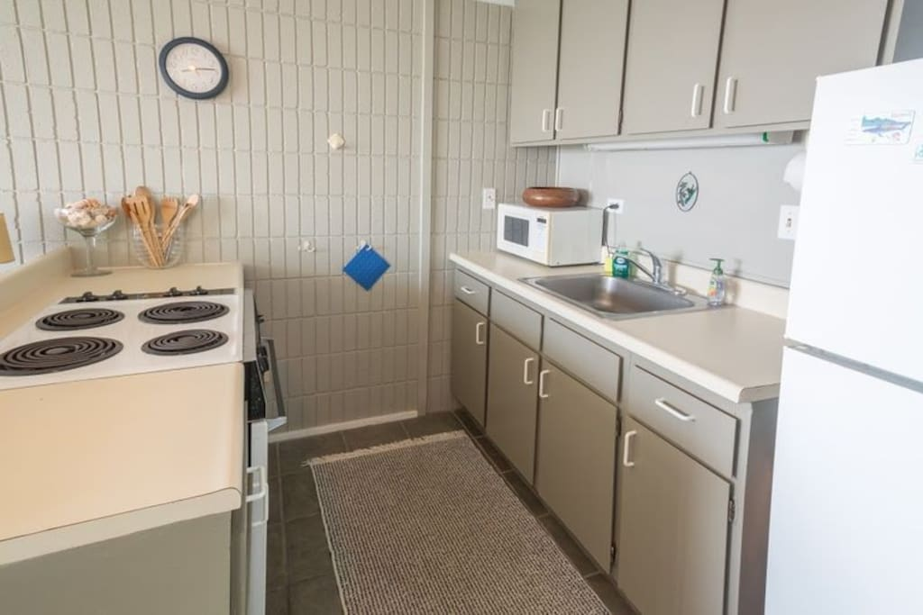 The kitchen has all of your basic needs