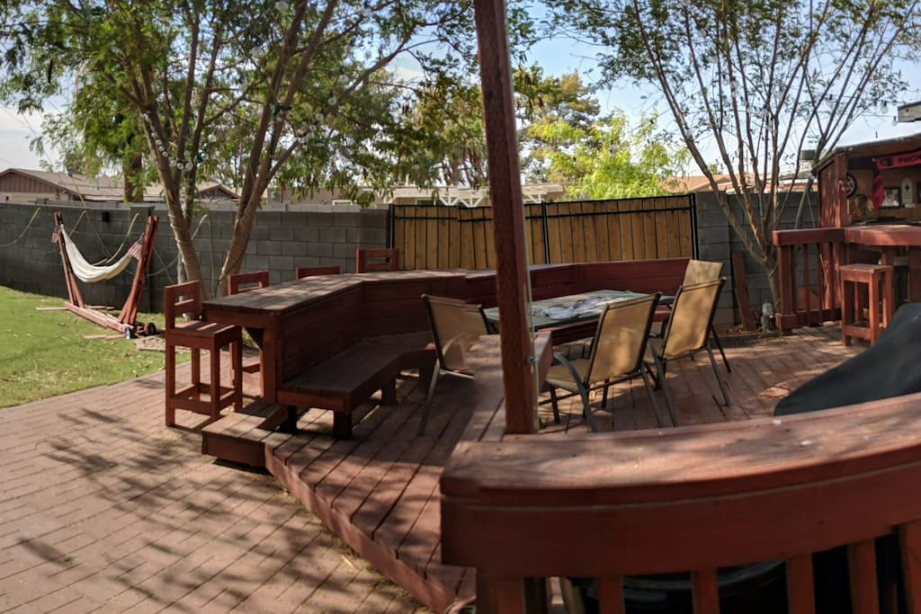 Backyard and deck outside the casita.