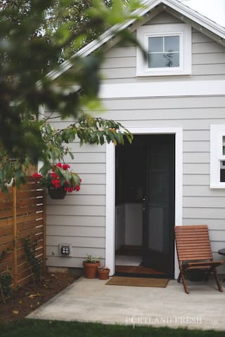 Front entrance of the house. Photo by Christiann Koepke with Portland Fresh.