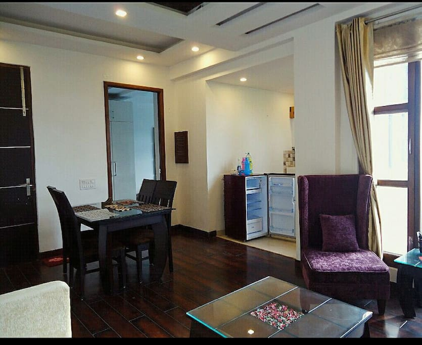 Dining area with fridge..... for coolers and chillers.... Enjoy !!