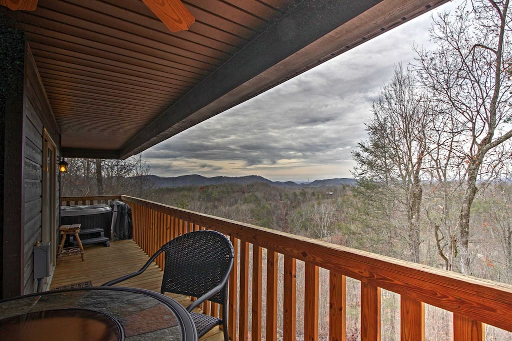 Enjoy the incredible mountain views from the private deck.