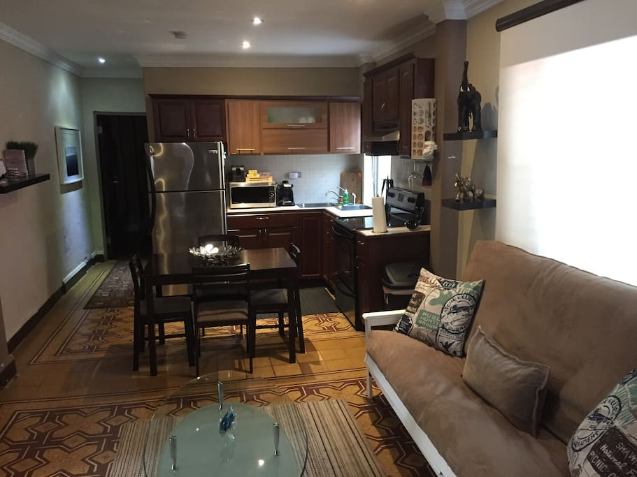 Kitchen and living room area.