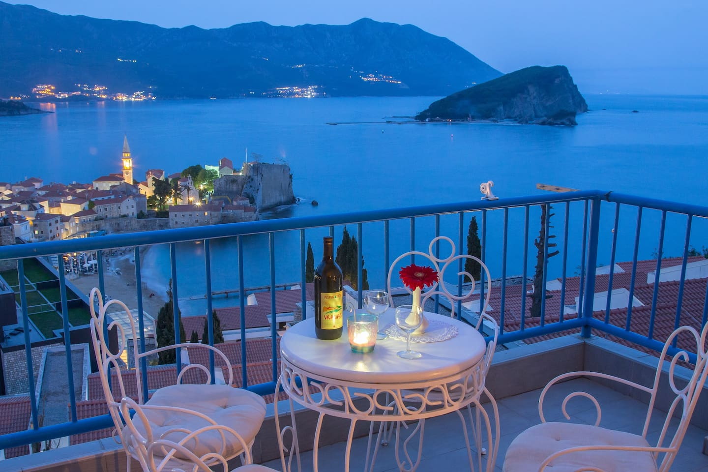 Romantic dinner on terrace with a amazing view on riviera
