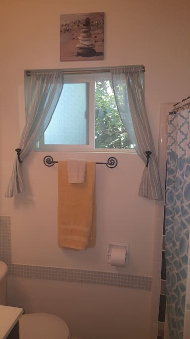 Large Airy bathroom window with tree scape view