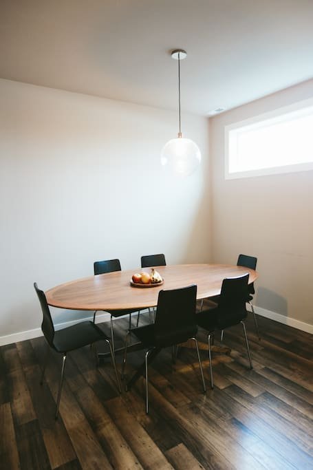 Dining room with table with seating for 6
