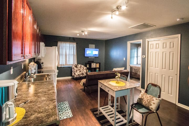 Open concept living space makes this modern carriage house super cozy!