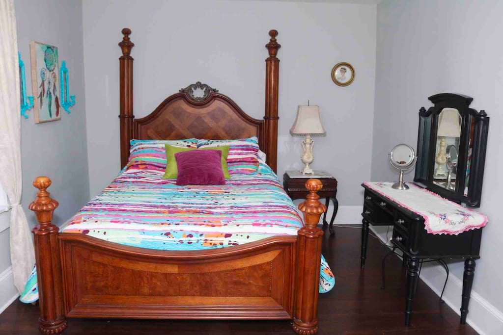 Spacious master bedroom with vanity