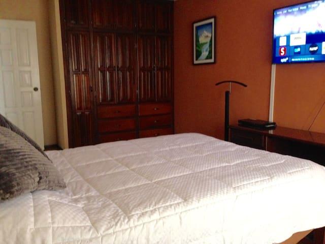 el Dormitorio es muy Cálido, cuenta con cama de 2 plazas, colchón tempur, almohadas tempur, sabanas de 2000 hilos, cubrecama Niken con imanes para mantener el campo electromagnético mientras descansa.