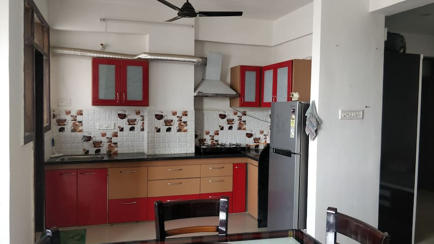 Fully furnished kitchen with gas burner and chimney, utensils will be provided for cooking. Meals facility service also available(cheap and chargeable)